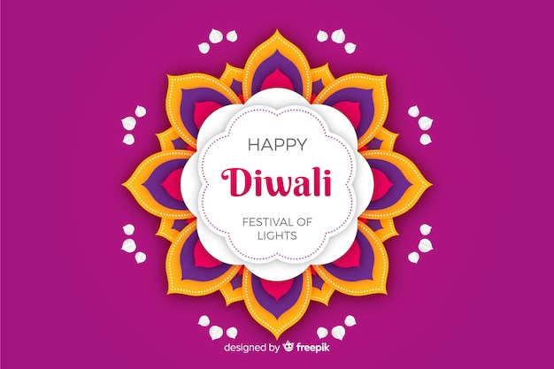 Diwali violet background in paper style Free Vector