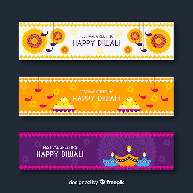 Diwali web banner collection with flat design Free Vector