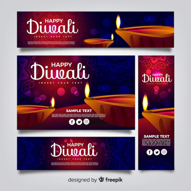 Diwali web banner collection with realistic design Free Vector