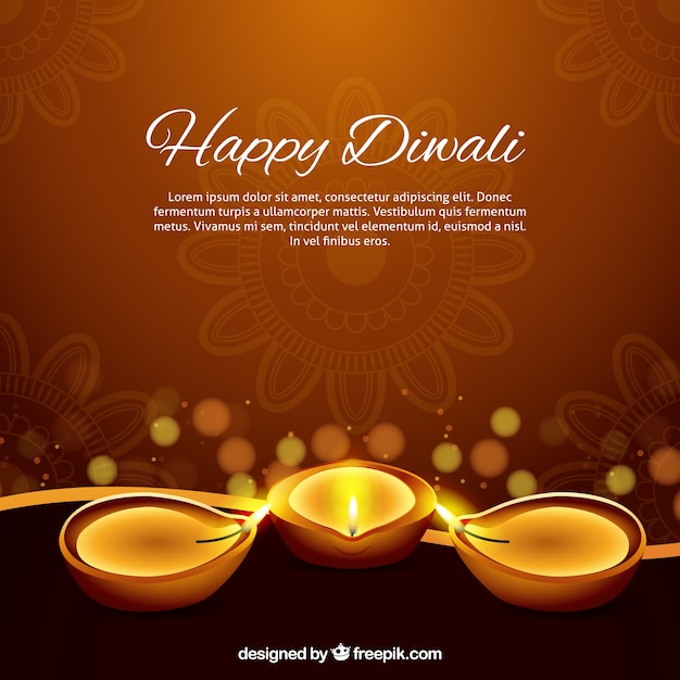 Diwaliキャンドルと茶色の背景 無料ベクター
