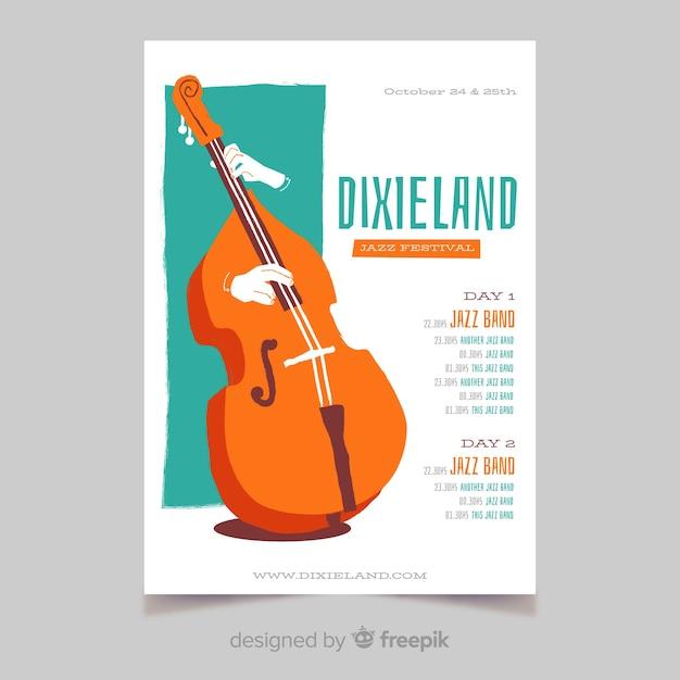 Шаблон плаката джазовой музыки dixieland Бесплатные векторы