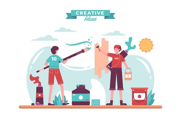 Diy creative workshop concept illustrated Free Vector