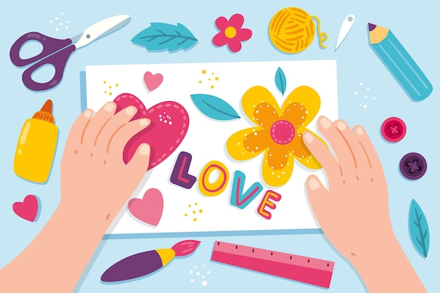 Diycreative workshop concept with hands illustration Free Vector
