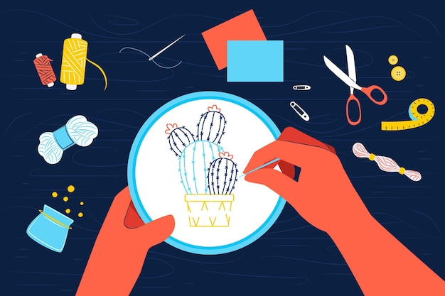 Diy creative workshop concept with hands sewing Premium Vector