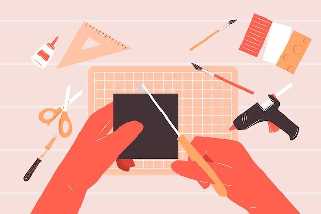 Concetto creativo diy dell'officina con le mani facendo uso dell'illustrazione di forbici Vettore gratuito
