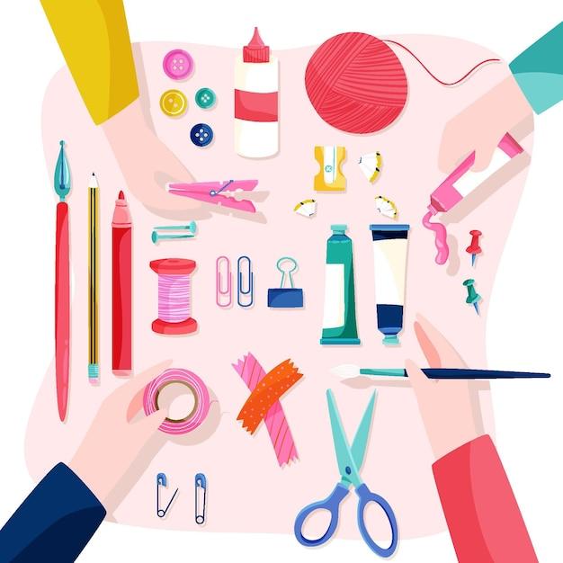 Concetto di laboratorio creativo fai da te con le mani Vettore gratuito