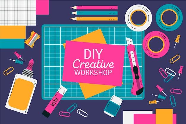 Diy creative workshop idea Free Vector