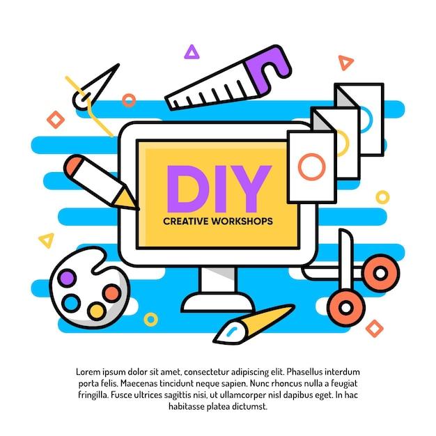 Diy creative workshop illustration Free Vector