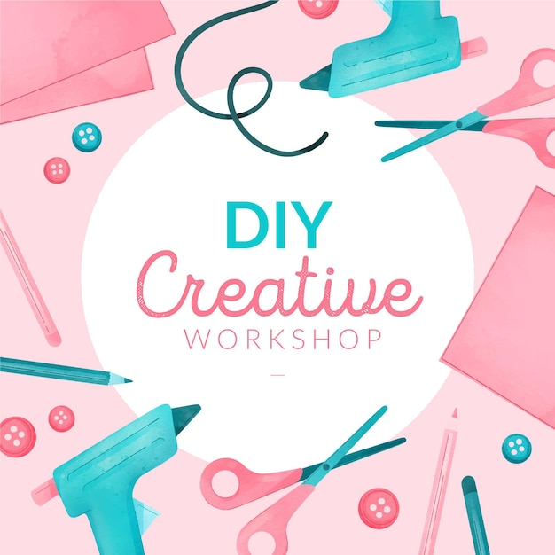 Diy creative workshop with glue guns and scissors Free Vector