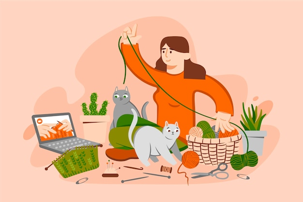 Diy creative workshop with woman Free Vector