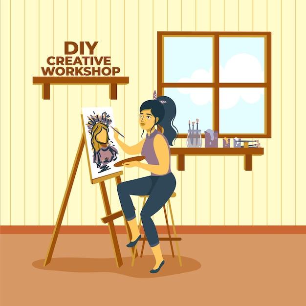 Pittura creativa della donna dell'officina di diy Vettore gratuito