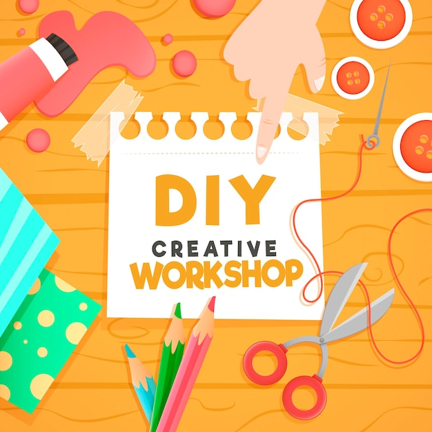 Diy creative workshop Free Vector