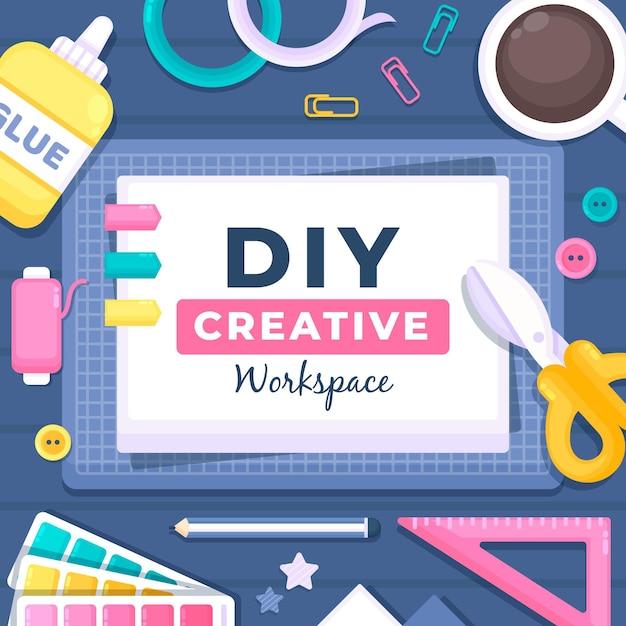 Diy creative workshop Premium Vector