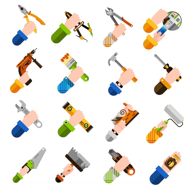 Diy hands icons Free Vector