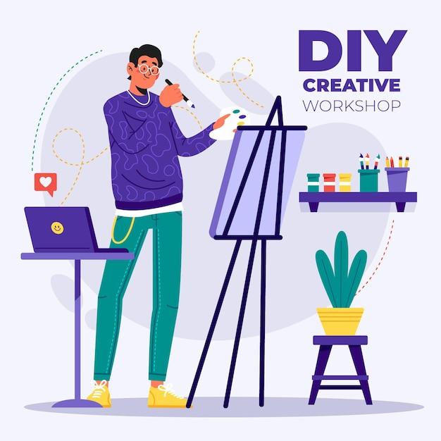 Diy концепция творческой мастерской Бесплатные векторы