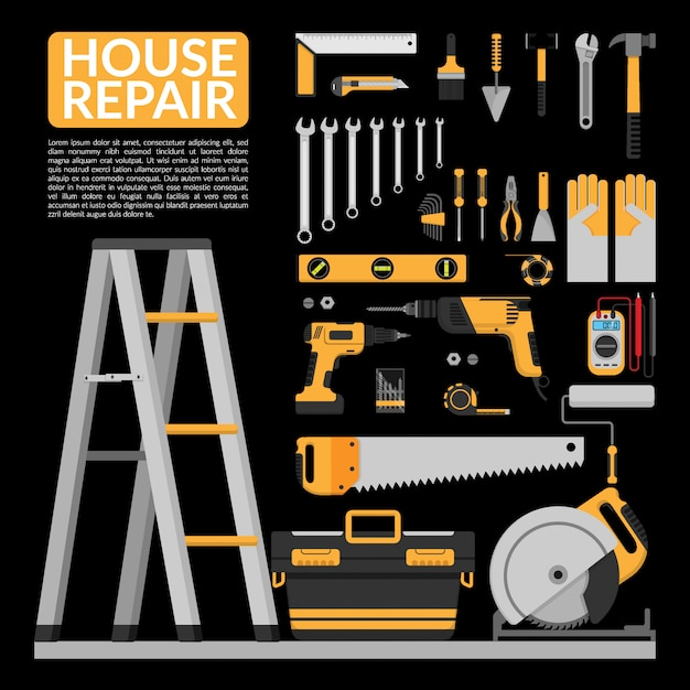 Набор diy домашнего ремонта рабочих инструментов инфографики Premium векторы