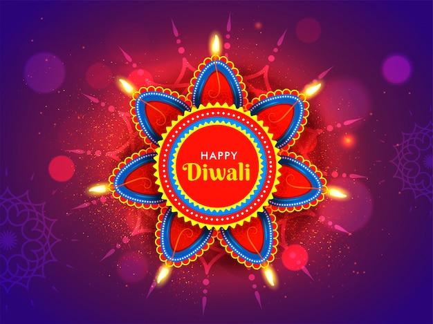 Загоренные масляные лампы (diya) на флористическом rangoli и фиолетовом влиянии bokeh для концепции торжества счастливого diwali. Premium векторы