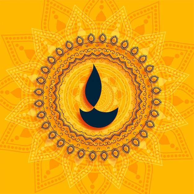 装飾的なディワリ祭diyaマンダラスタイルの黄色の背景 無料ベクター