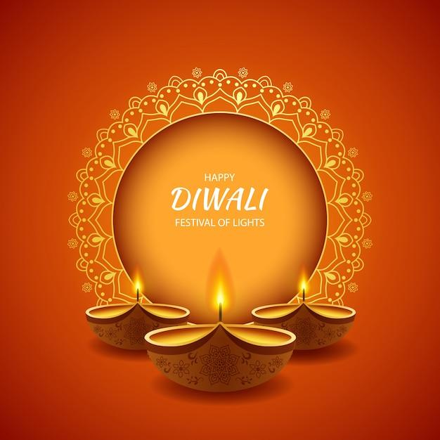 Счастливый фестиваль дивали светлой предпосылки с лампой diya. Premium векторы