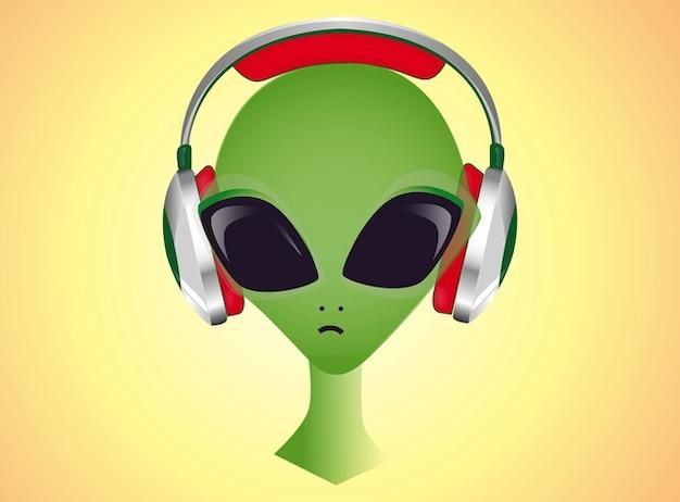 Dj alien headphones music listen cartoon