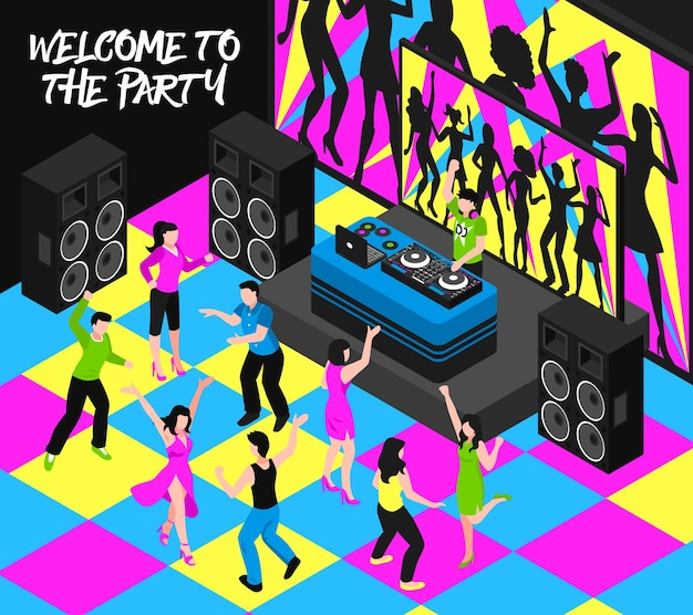 Dj и вечеринка композиция с развлекательной ночной жизнью и музыкальными символами изометрии Бесплатные векторы