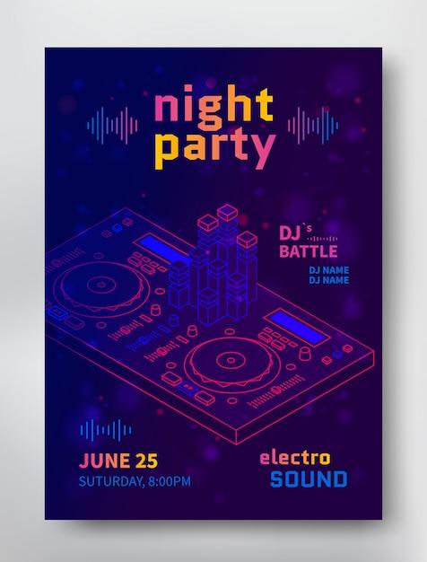 Шаблон плаката вечеринки. электро звуковой флаер с dj battle Premium векторы