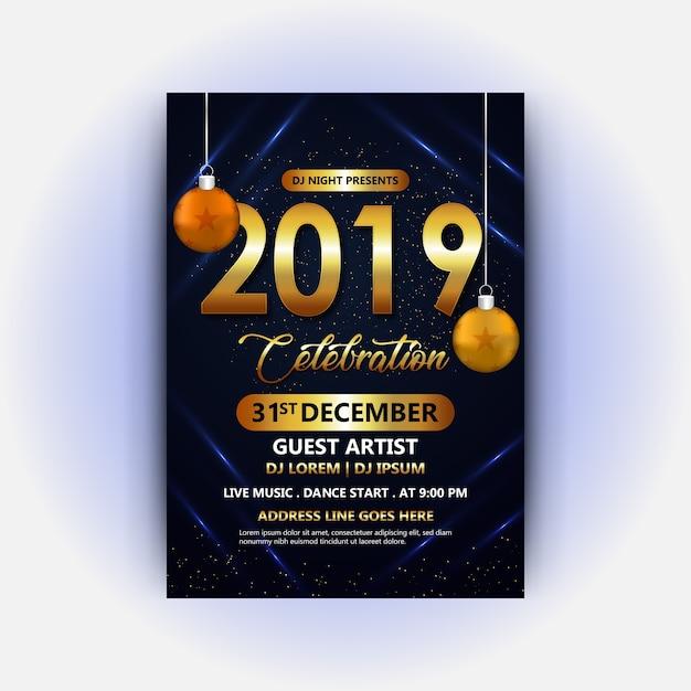 Dj club poster of happy new year 2019 Premium Vector