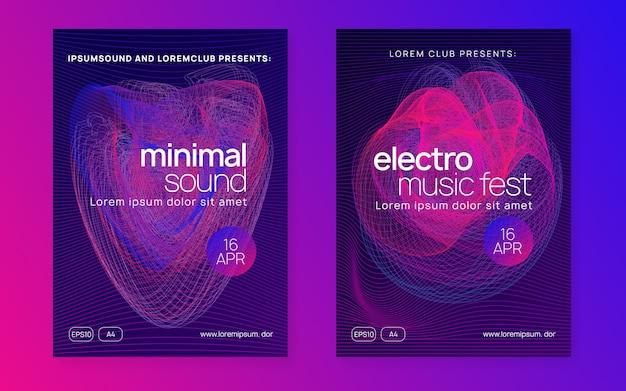 Dj событие. набор плакатов для коммерческих дискотек. динамическая плавная форма и линия. техно-транс-вечеринка. электро танцевальная музыка Premium векторы