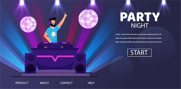 Dj in headphones at night club party play music Premium Vector