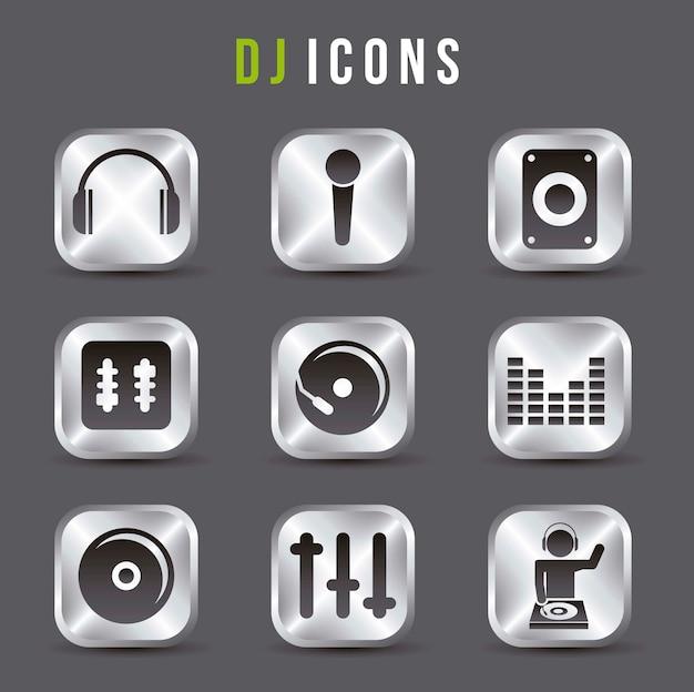 Dj icons over gray background vector illustration Premium Vector