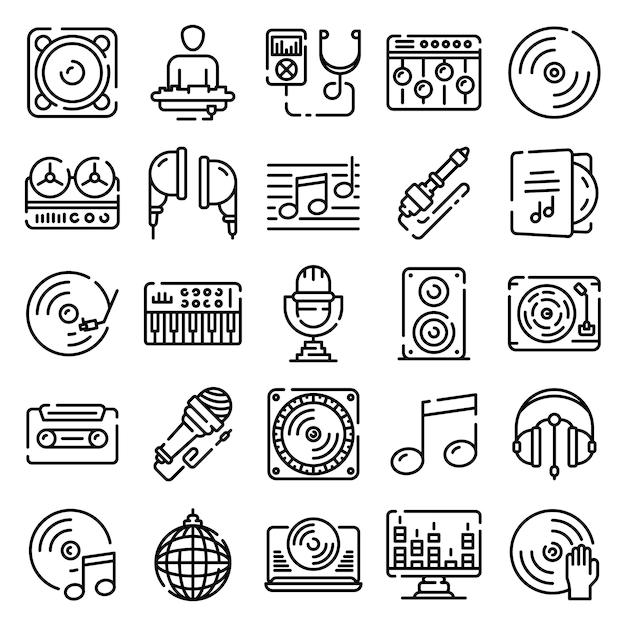 Dj icons set, outline style Premium Vector