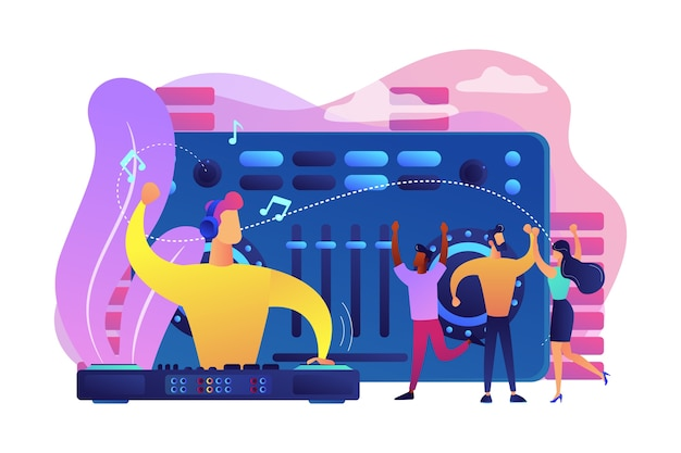 Ди-джей в наушниках на проигрывателе играет музыку, а крошечные люди танцуют на вечеринке. электронная музыка, набор музыки dj, концепция курсов школы ди-джеев. Бесплатные векторы