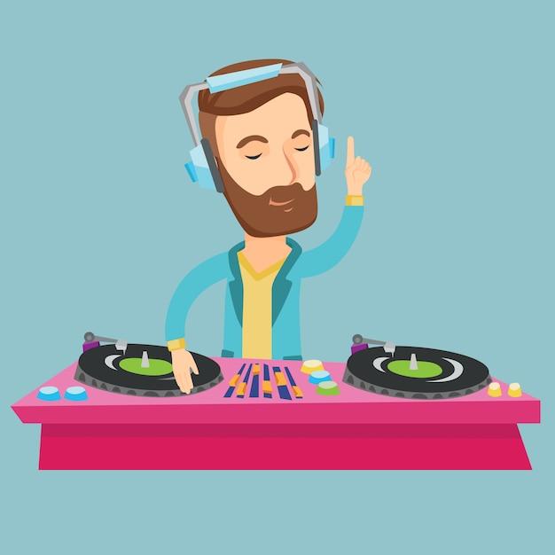 Dj mixing music on turntables vector illustration. Premium Vector