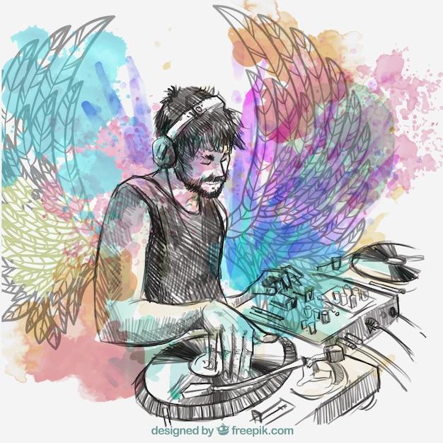 Dj music с крыльями и докладчиков Бесплатные векторы