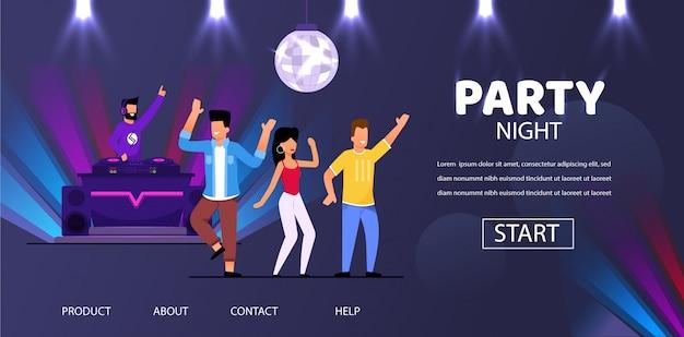 Dj night club party play music people crowd dance Premium Vector