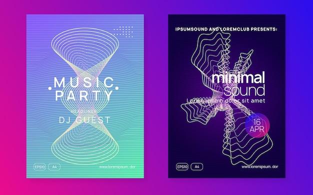 Dj вечеринка. динамическая плавная форма и линия. набор брошюр современный концерт. неоновая вечеринка ди-джея. Premium векторы