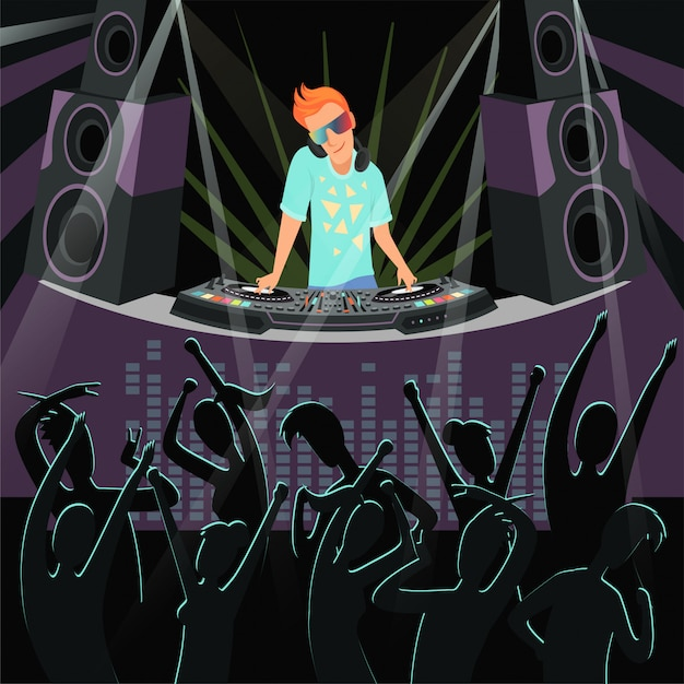 Dj party illustration of disco party at night club Premium Vector