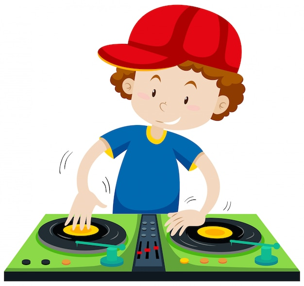 Dj playing music at the station Free Vector