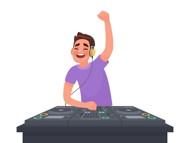 Dj plays music at turntable on white illustration Premium Vector