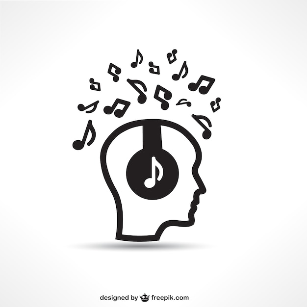 Dj silhouette with music notes Free Vector