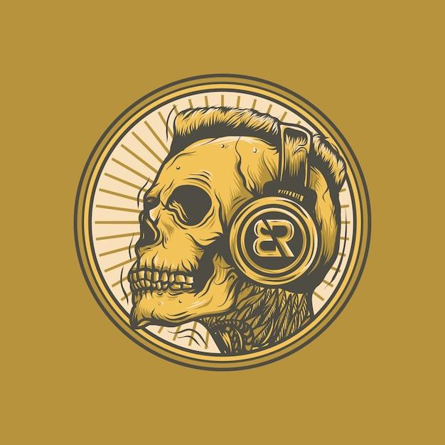 Dj skull vector Premium Vector