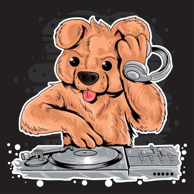 Dj teddy bear house music party Premium Vector
