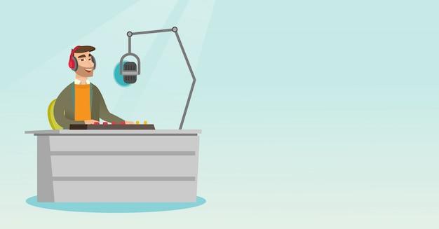 Dj working on the radio vector illustration Premium Vector