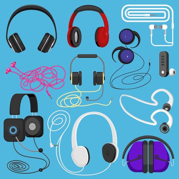 ヘッドフォンのイラストヘッドセットdjの音楽を聴くとオーディオイヤホンデバイスイラストステレオヘッドギアとイヤホンセット分離 Premiumベクター