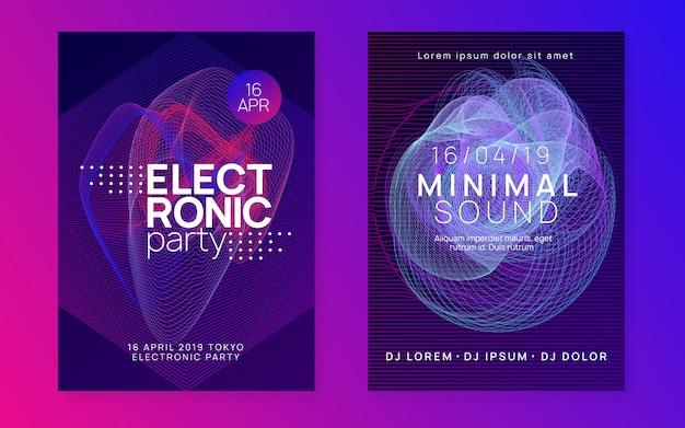 抽象的な音楽チラシ。テクノdjパーティー。エレクトロダンスイベント。電子トランス音。クラブのポスター。 Premiumベクター