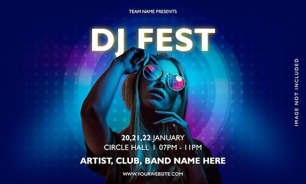 Dj фестиваль вечеринка музыка плакат Premium векторы