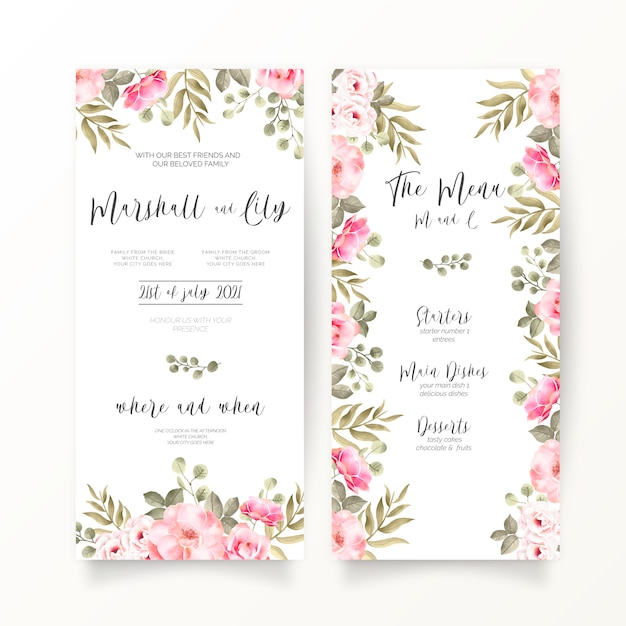 Dl wedding invitation and menu template with soft pink flowers Free Vector