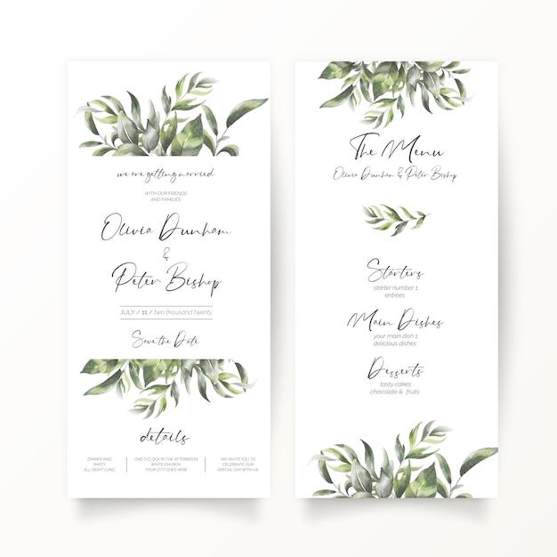 Свадебные приглашения и шаблон меню в формате dl Бесплатные векторы