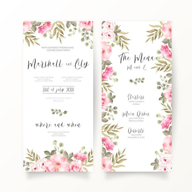 柔らかいピンクの花を持つdl結婚式招待状とメニューテンプレート 無料ベクター