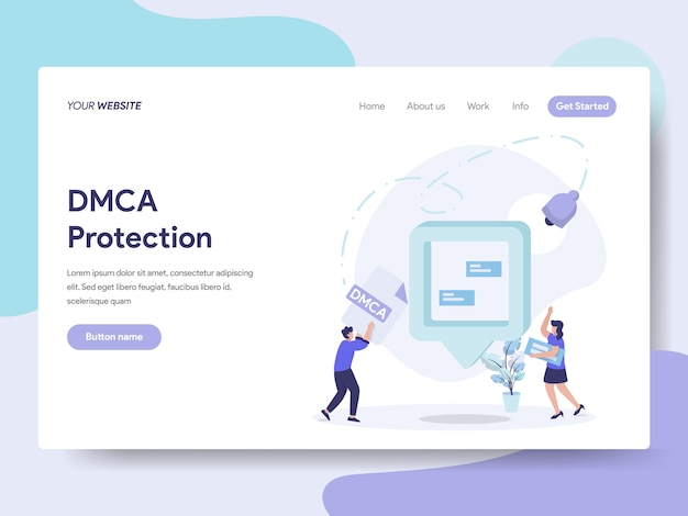 Dmca protection for web page Premium Vector